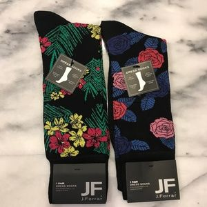 JF J.FERRAR Men's Dress Socks TWO PAIR FLORAL NWT